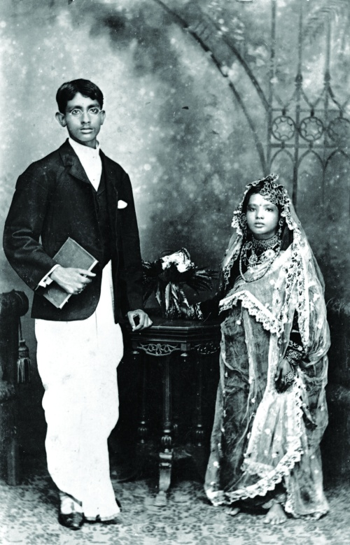 Figure 1. Wedding portrait of Sahayram Basu and Ranu, 1907