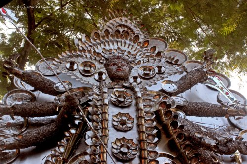 The Kalimandir pandal of the city's Chatribari locality came up with this unique idol made entirely of aluminium and stainless steel utensils