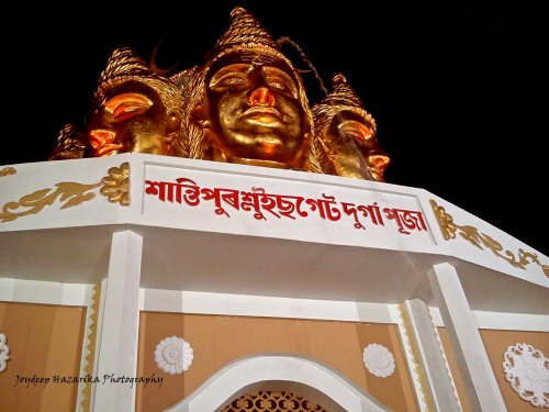 The city's Santipur Sluicegate pandal with the theme of the Ganges flowing out of Lord Shiva's matted locks