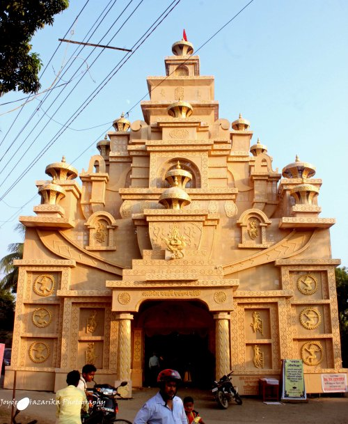 A grand puja pandal set up in the city's Maligaon locality